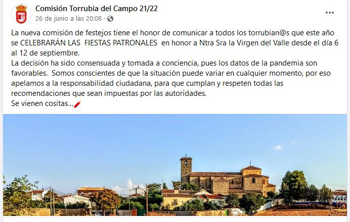 Torrubia tendrá actos festivos en honor a la Virgen del Valle